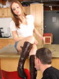 Lovely Lady and her boot slave