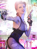 Red-haired babe with guns
