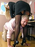 Mistress punishes a thief in the office
